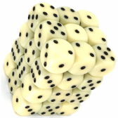 Ivory & Black Opaque 12mm D6 Dice Block